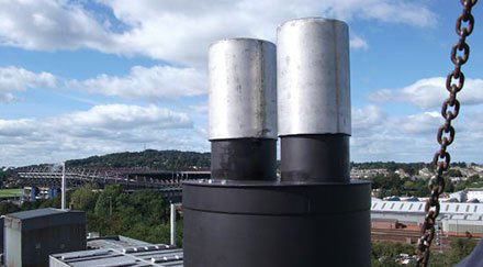 Large black and silver fat chimney system